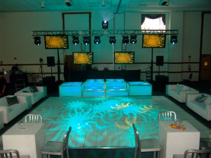 lighting effects on white dance floor
