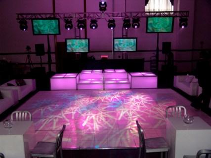 lighting effects on white dance floor