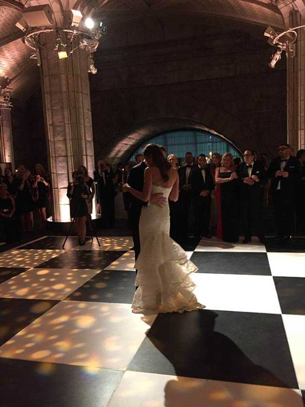 black and white dance floor at wedding