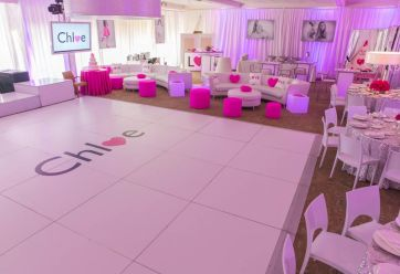 customized sticker on white dance floor