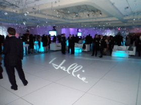 white dance floor with gobo name