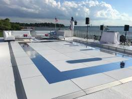 portable outdoor dance floor in white with silver design