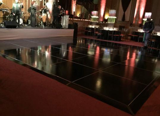 Glossy black dance floor