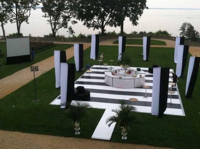 outdoor black and white dance floor