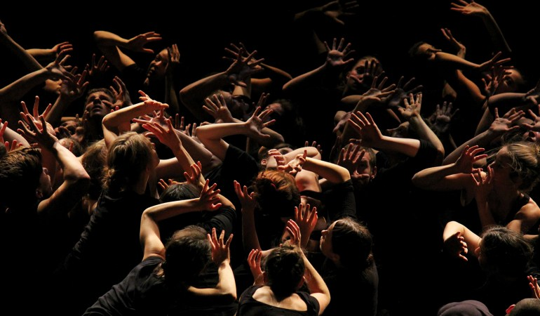 Dancers from Simon Fraser University Dance Program, Arts Umbrella Graduate Dance Program and Modus Operandi in Crystal Pite's Singularity Photo: Jonathan Kim, courtesy of SFU's School for the Contemporary Arts