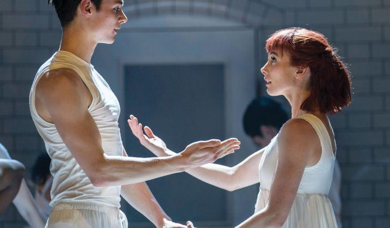 Cordelia Braithwaite (Juliet) and Paris Fitzpatrick (Romeo)  in Matthew Bourne's Romeo and Juliet  Photo: Johan Persson