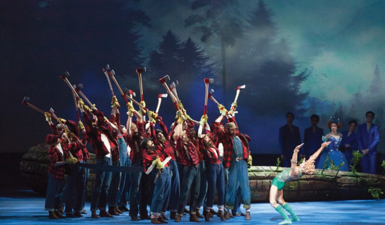 Skylar Campbell with artists of the National Ballet of Canada in Will Tuckett's Pinocchio  Photo: Aleksandar Antonijevic