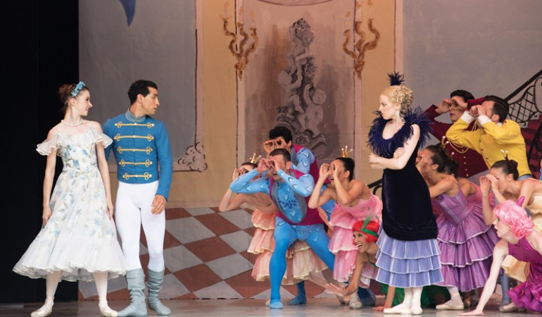 TIvoli Ballet Theatre's Fenella Cook (Cinderella), Robert Thomsen (Prince), Nadia Dahl (Stepmother) and corps de ballet in Yuri Possokhov's Cinderella |  photo: Annett Ahrends