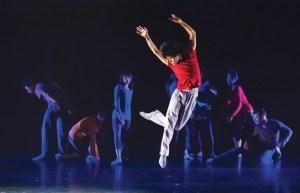 Mo Liu (centre) and Kun-Yang Lin/Dancers in Lin's Be/Longing: Light/Shadow  Photo: Frank Bicking