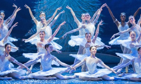 Snowflakes dance during English National Ballet's dress rehearsal of 'The Nutcracker' at the Coliseum Theatre, London. Photo by Arnaud Stephenson.
