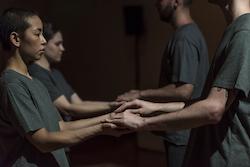 Lilian Steiner, Briarna Longville, Jonnine Nokes and Atticus Bastow in Steiner's 'Noise Quartet Meditation'. Photo by Gregory Lorenzutti for Dancehouse.