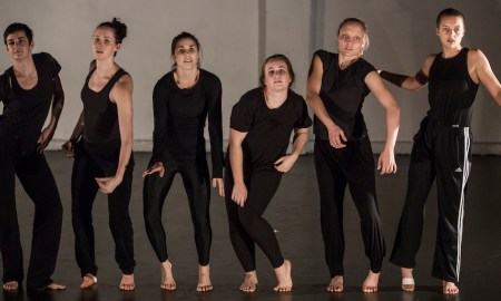 Rosslyn Wythes Choreographic Lab, dancers left to right Kate MacDonald, Ashlee Barton, Annabel Saies, Emma Harrison, Courtney Scheu and Ivey Wawn. Photo by Pia Moore.