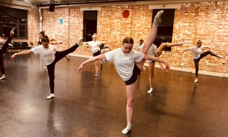 Telea Jensen with Expressions Dance Company Youth Ensemble dancers Indigo Blue Macrokanis, Ashleigh Brant and Zoe Davidson-Wall. Photo courtesy of EDC.