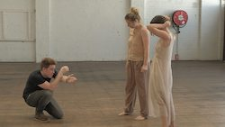 Patrick Mazzolo, Sarah Boulter and Lucy Doherty behind the scenes of 'Reminiscence'. Photo by Ashley Mason.