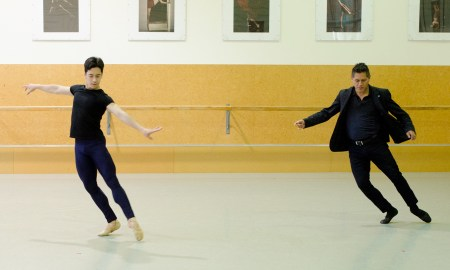 David Fernandez and Rench Soriano rehearsing solo performance from 'Five Variations on a Theme'. Photo by Julia Forsyth of Joyful Dance Photography.