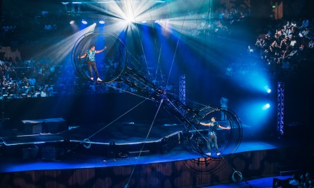 The Wheel of Death in 'Cirque Stratosphere'. Photo by Jordan Munns.