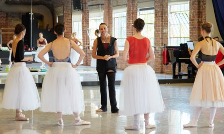 Sandy Delasalle and dancers of West Australian Ballet in rehearsals for 'La Sylphide'. Photo by Sergey Pevnev.