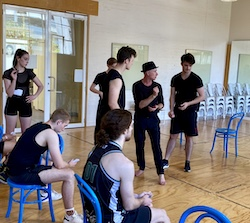 Andrew Hallsworth and Patrick School of the Arts in rehearsal for 'Guys and Dolls'. Photo by Kieran Rodriguez.