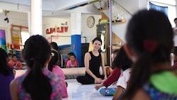 Juliet Burnett teaching a community workshop for underprivileged children in Jakarta. Photo by Reynold Setiadi.