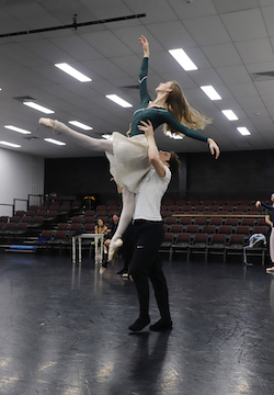 Queensland Ballet's Georgia Swan and Vito Bernasconi in rehearsal for 'Lady of the Camellias'. Photo by Stephanie Do Rozario.