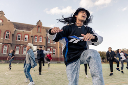 Alec Pernes for FREEDANCE (10 weeks of energetic dance classes in the open air at Abbotsford Convent, led by local artists from Dancehouse). Photo by Mathew Lynn.