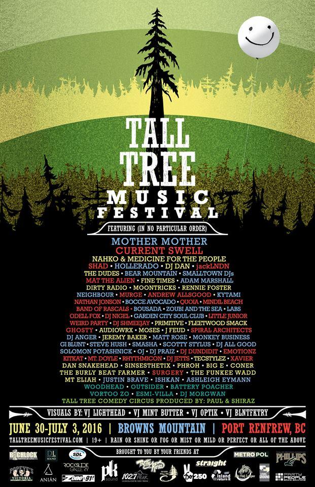 Tall Tree 2016, Lineup, Tall Tree Music Festival