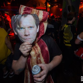 "Kevin Bacon - Or is it Bacon, Kevin Bacon? Either way this literal interpretation had us laughing good. Whats better is we originally thought he was just a piece of bacon. To which he replied, ""wait...I need to put my face on""."