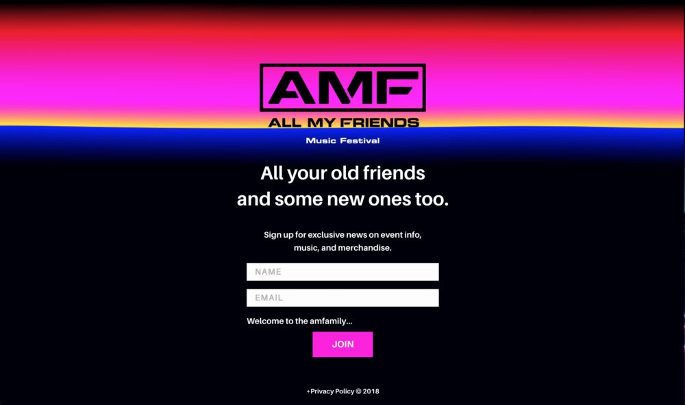 amf all my friends email signup