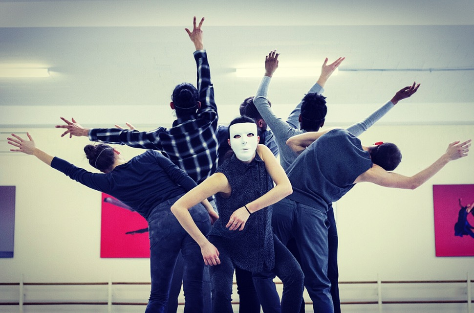 "DanceWorks Chicago dancers in rehearsal for Manuel Vignoulle's ""I Am ..."" (Photo by Joseph A. Hernandez)"
