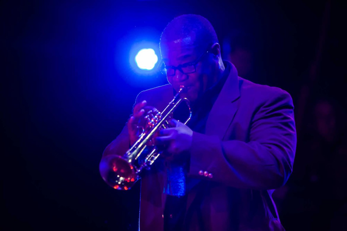 Legendary Chicago jazz trumpeter Pharez Whitted in performance with Cerqua Rivera fall 2017. (Photo by Dan Kasberger)