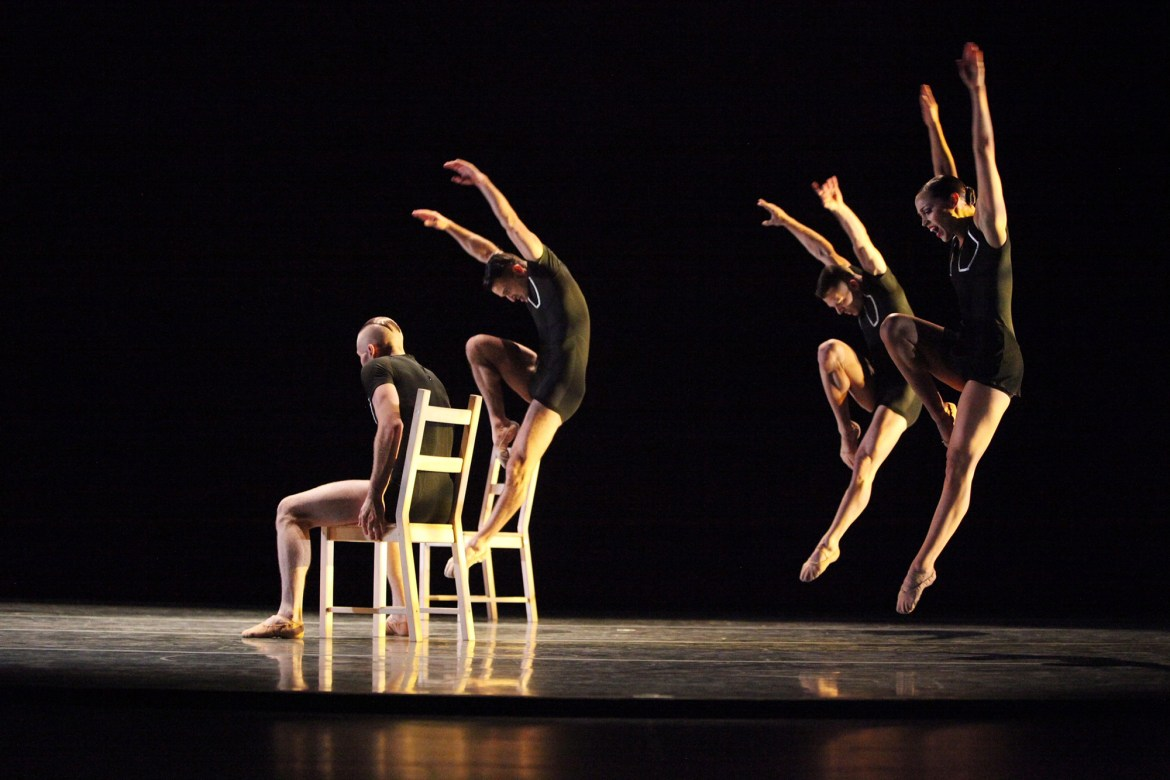 Giordano Dance Chicago - Tossed Around by Ray Mercer - Dancers (left to right): Adam Houston, Zachary Heller, Jacob Frazier and Ashley Downs (Gorman Cook Photography)