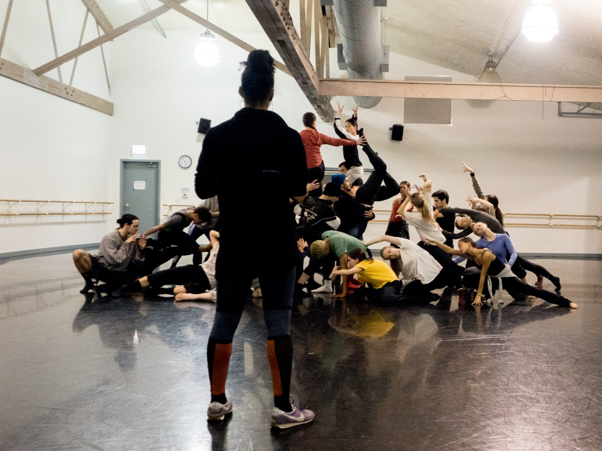 "Hubbard Street Dance Chicago and HS Pro in rehearsal for Rena Butler's ""III. Third"" (Photo by Kristi Licera)"