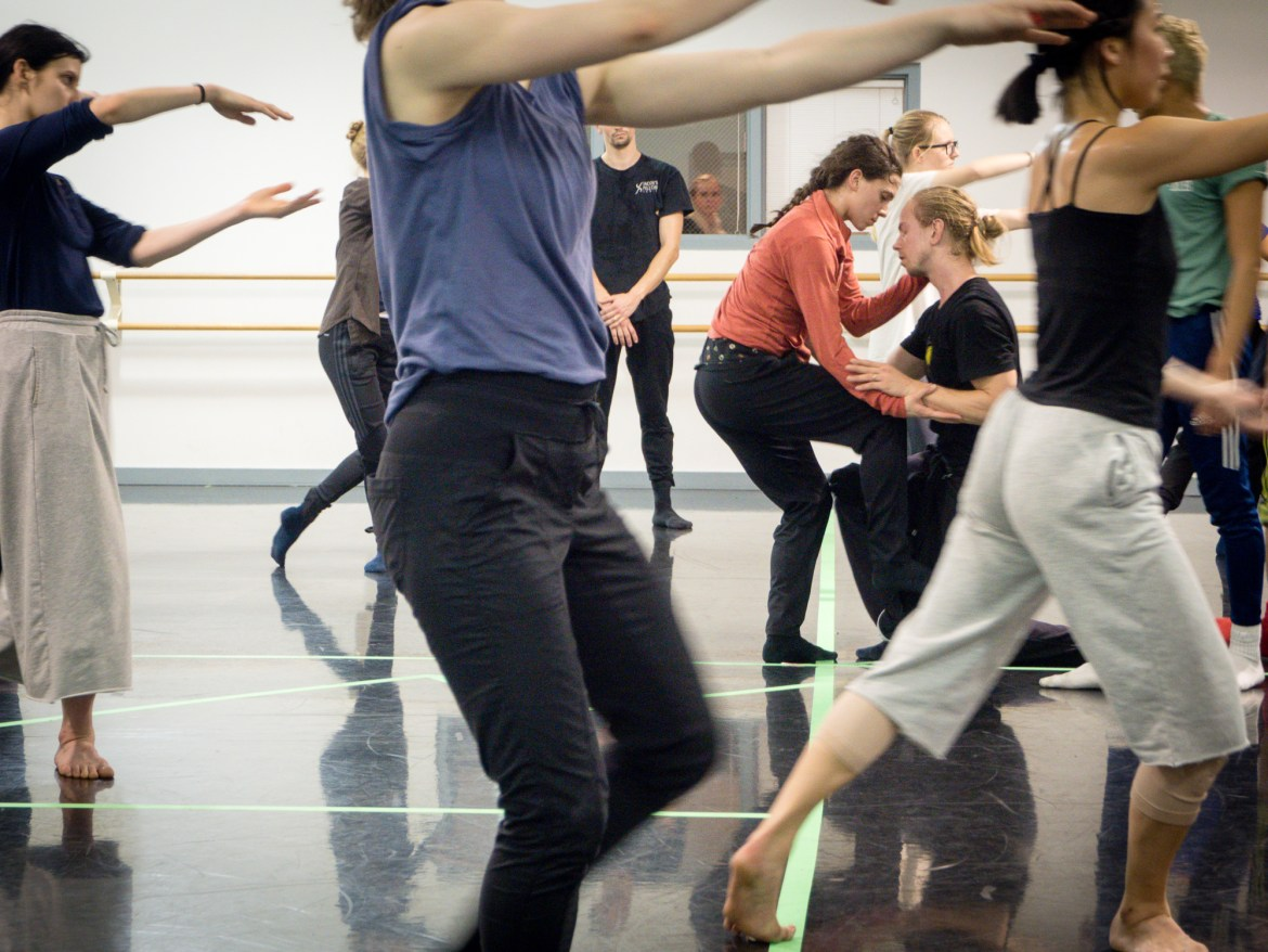 """Hubbard Street Dance Chicago in rehearsal for """"III.Third"""", choreography by Rena Butler (Photo by Kristi Licera)"""