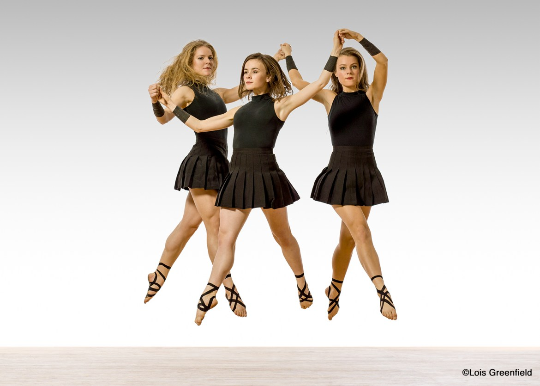 Trinity Irish Dance Company - Chelsea Hoy, Ali Doughty, Maggie Doyle (Photo by Lois Greenfield Dance)