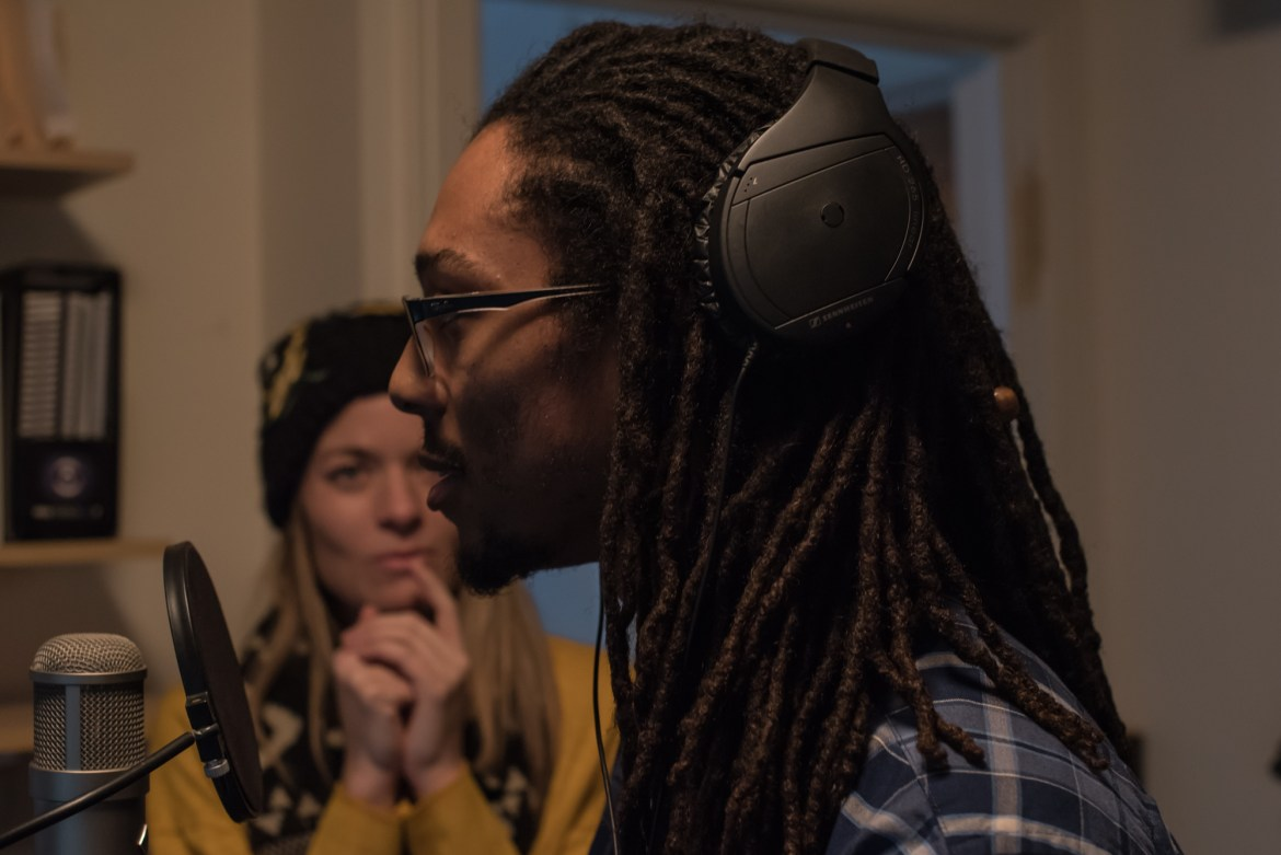 "Jessica Deahr and Elijah Motley recording vocals for the score for Chicago Dance Crash's ""Lil Pine Nut"" at Heart and Soul, Chicago, for the score design by Jessica Deahr and Johnny Nevin (Photo by Johnny Nevin)"