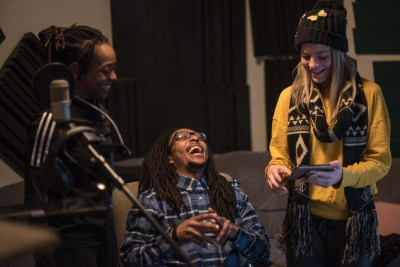 "Porscha Spells, Elijah Motley and Jessica Deahr at Heart and Soul, Chicago, during recording for the score design by Jessica Deahr and Johnny Nevin for Chicago Dance Crash's ""Lil Pine Nut"" (Photo by Johnny Nevin)"