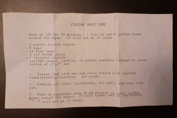 Original recipe for Italian Sweet Cake from the 1980s.