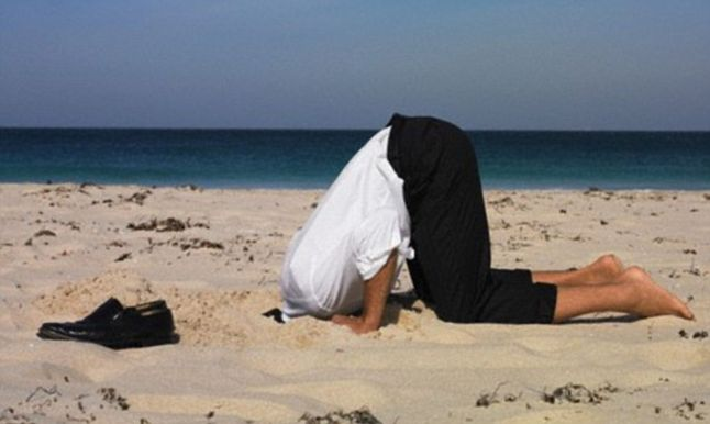 Stress makes you want to hide your head in the sand.  Good manners and simple pleasantries will help.