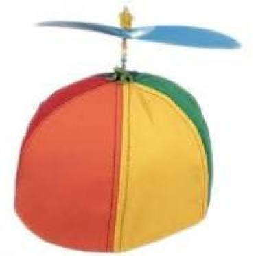 Hello Muddah, Hello Faddah beanie hat with propeller.