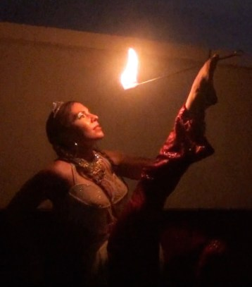Fire eating with feet