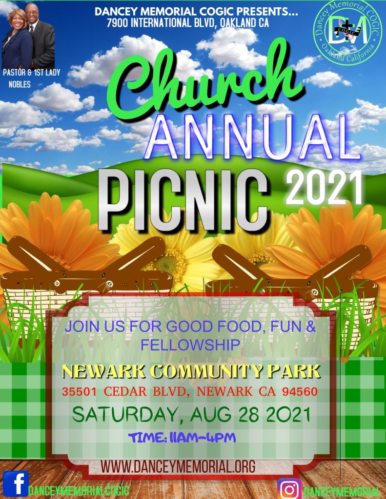 Dancey Memorial COGIC - Oakland CA - Church Annual Picnic 2021 | August 28th from 11am-4pm