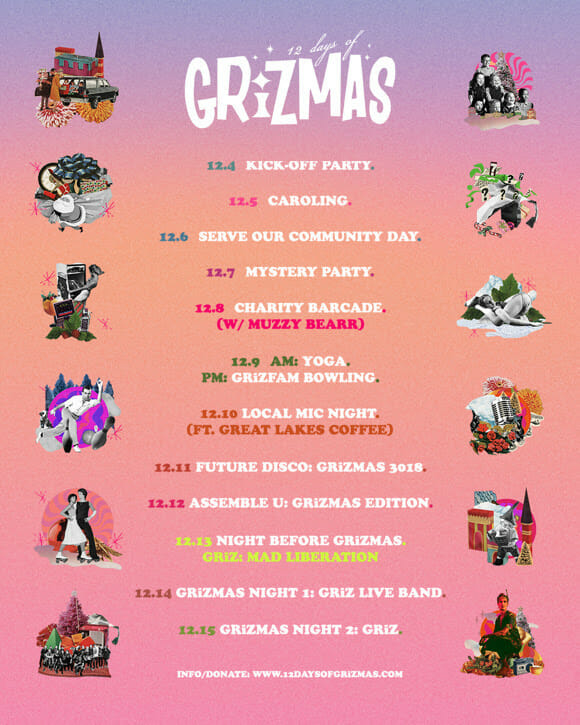 GRiZ announces the fifth edition of '12 Days of GRiZMAS,' supporting music education for Detroit public schoolsGrizmas 2018 Lineup Events