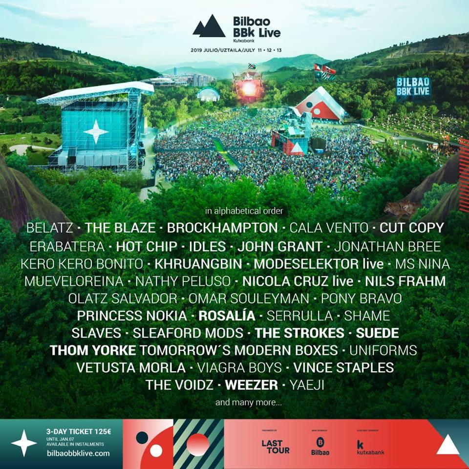 Bilbao BBK Live Line Up 2019