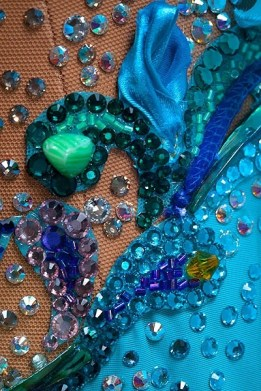 Dress Embellishment by Fashions for Passion Interesting use of ribbon, applique and seed beads for texture.