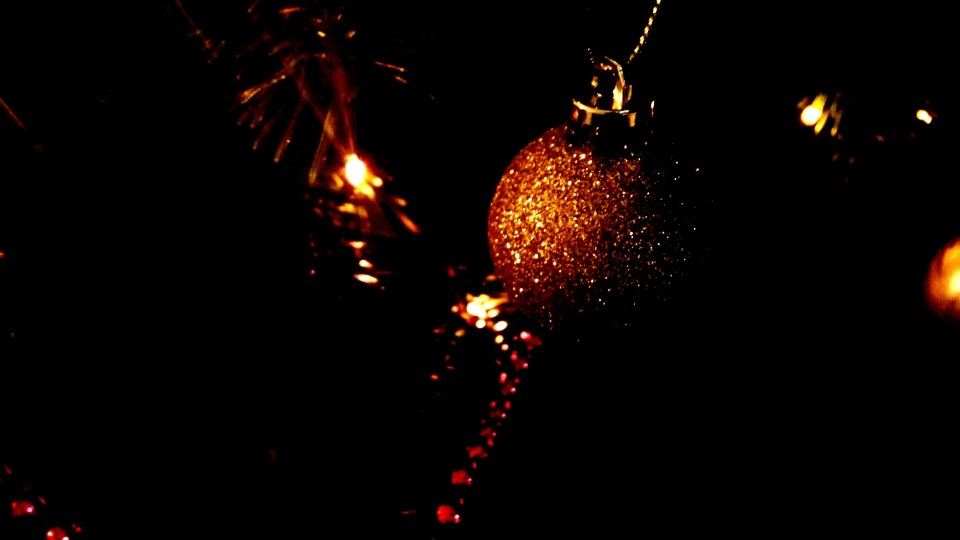 Christmas Tree Lights and Gold Bauble