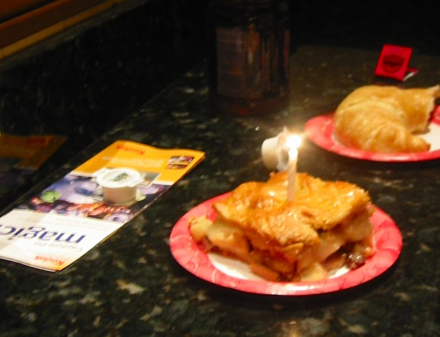Greg's birthday breakfast was an apple charlotte from the main street bakery