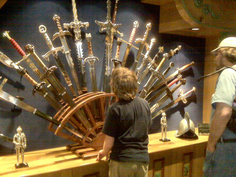 Basht and Greg checking out the swords on Main Street