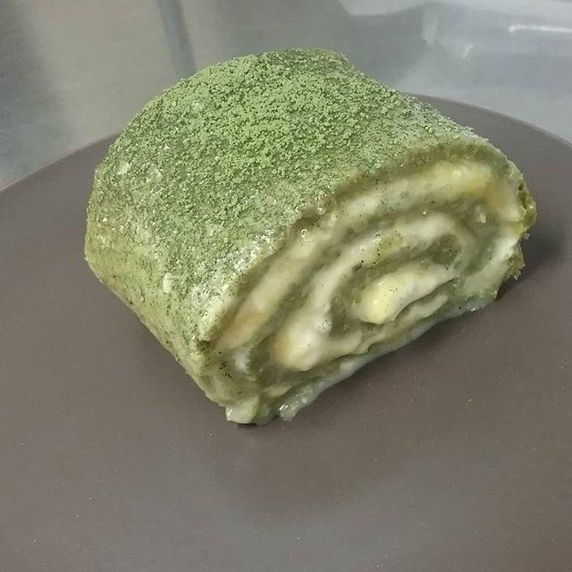 SPONGE CAKE ROLL - Matcha sponge, Guatemalan white Jade, tart lemon curd and fresh creamJoin us tonight for dessert night 7 to 10 pm!#madefromscratch #swissrollcake #matchatea #lemoncurd #dessertnight #manchesternh #chocolatier