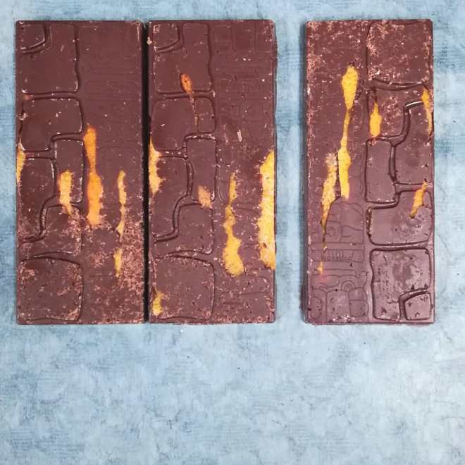 REFLECTIONS ON STILL WATER Limited Edition Bar. Candied ruby grapefruit with shaved Tikal Guatemalan milk chocolate and Liona Dominican Republic dark chocolate.#chocolatier #chocolatebar #limitededition