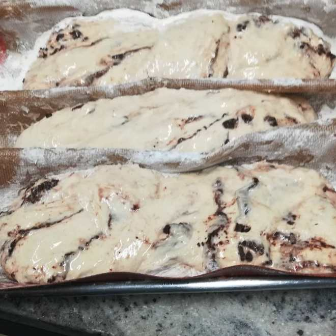 DON'T look like much yet. SLACK DOUGH BABKA with a chocolate cinnamon butter swirl. The chocolate's my test batch of Ecuador 60%, fresh from the new melanger. Ready at 1pm; you can buy it on our website. #chocolatier #bread #babka #bean-to-bread-chocolate.